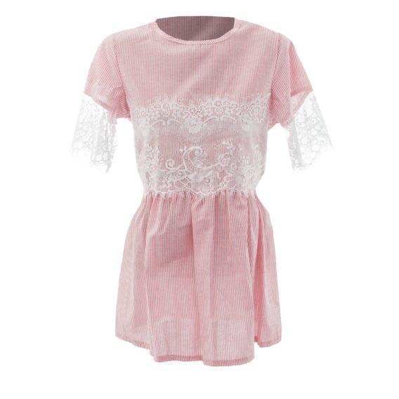 Блуза для девочки с кружевом «Ресничка» 171005 розовая (7-12 лет)